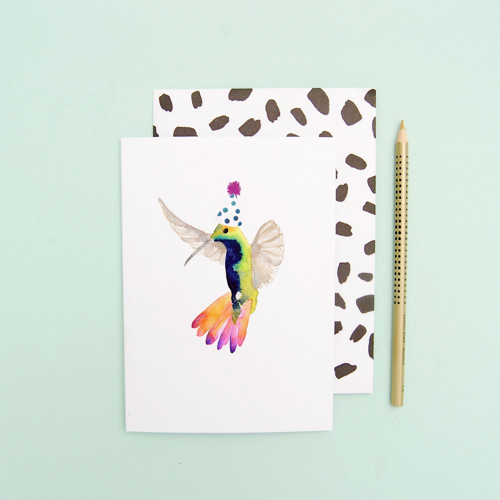 LIZ TEMPERLEY Hummingbird In Party Hat Greeting Card
