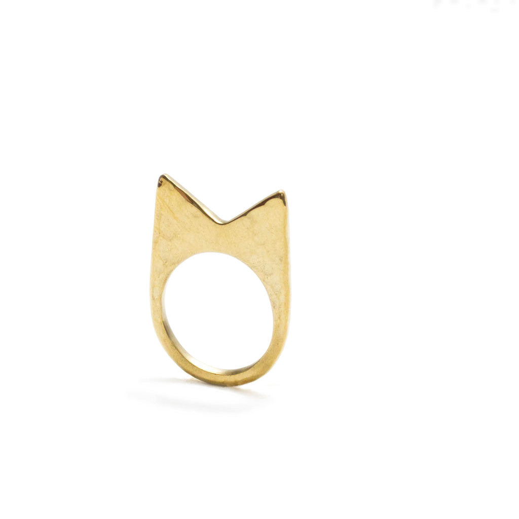 Signature Mamba Hammered Brass Ring