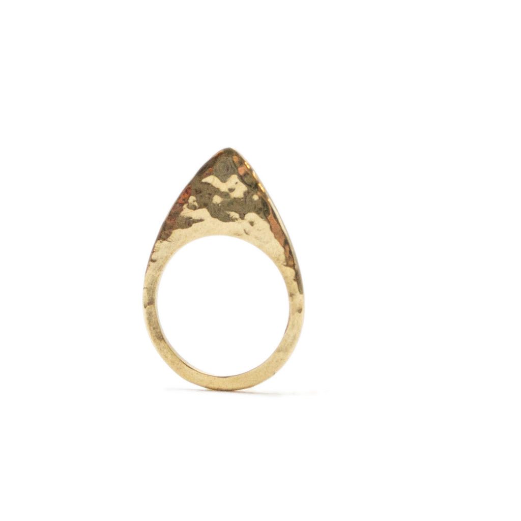 Signature Arrow Hammered Brass Ring
