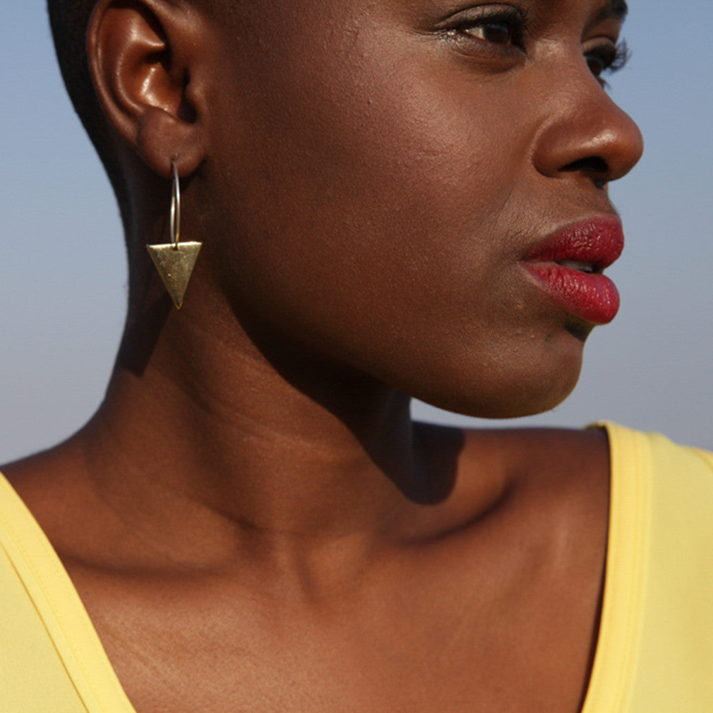Artisans & Adventurers Signature Triangle Hoop Earrings - gold-toned recycled brass earrings