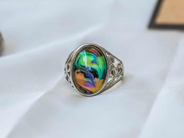 Limited Edition Opalescent Oval Stone Mood Ring + Canvas Gift Bag