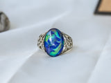 Limited Edition Borderless Opalescent Oval Stone Mood Ring + Canvas Gift Bag