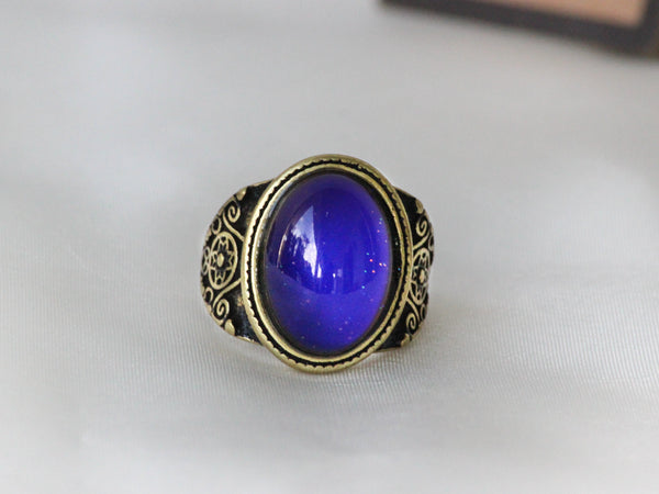 Antique Gold Plating Spiritual Oval Stone Mood Ring
