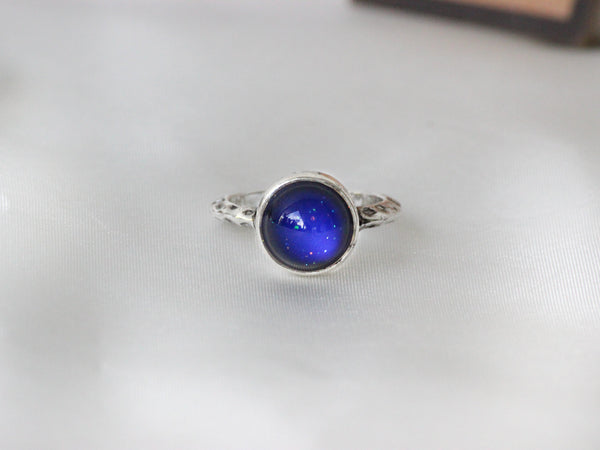 Antique Silver Plating Circle Stone Mood Ring