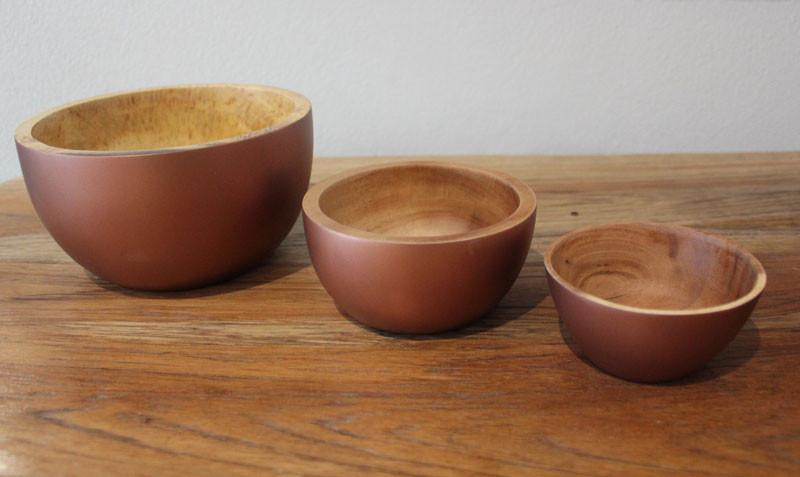 Handcrafted Acacia Wood Bowl Copper - 9cm - The Chic Nest