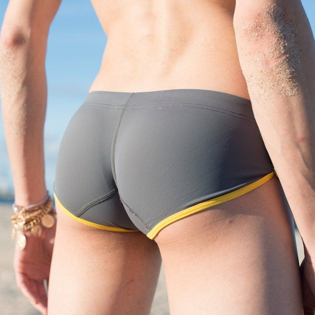 Grey Draw String Swim Trunks  -  swim wear - TasteeTreasures