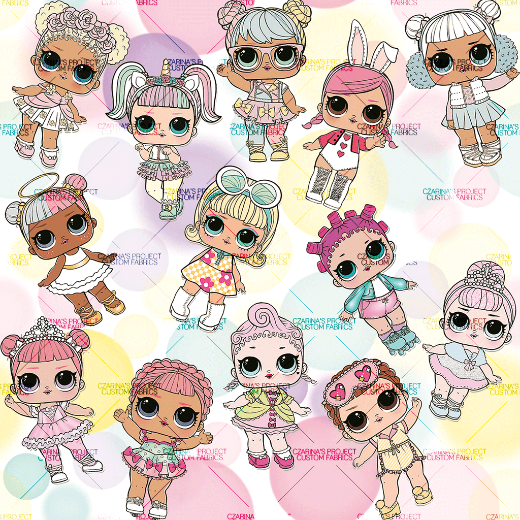 Retail - LOL Doll Pastel Bokeh Main Fabric (Big Scale: Dolls 6 in tall)