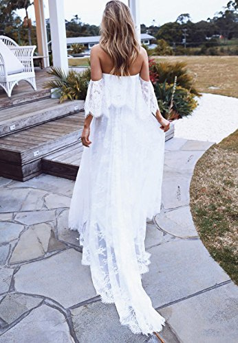 Off the Shoulder Lace Bohemian Wedding Dress Beach Bohemian Bridal Gown