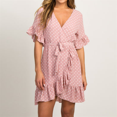 Boho Polka Dot Wrap Dress