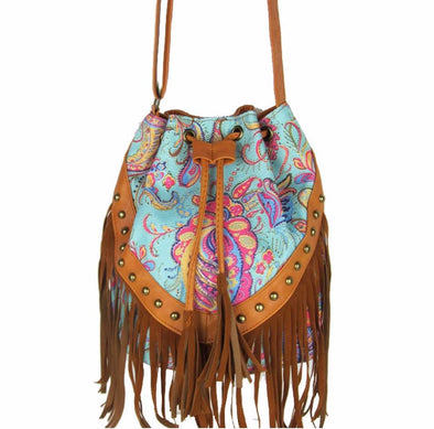 Drawstring Bucket Bag  Faux Fringe Tassel Shoulder Bag Boho Style - Hippie BLiss