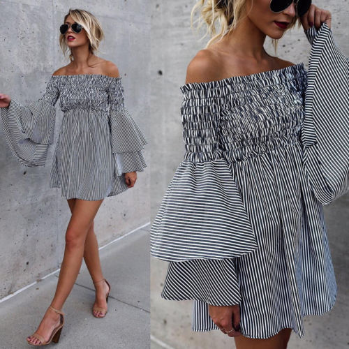 Bohemian Off The Shoulder Bell Sleeve Dress - Hippie BLiss