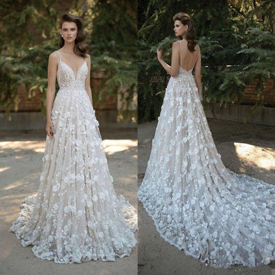 Deep V Backless Wedding Dresses Bohemian Country Bridal Gown - Hippie BLiss