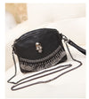 Punk Style Fringe Hand bags Black Leather Boho Bag