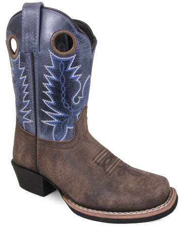Smoky Mountain Children's Mesa Square Toe Pull On Brown Oil Distressed/Navy Crackle Boots