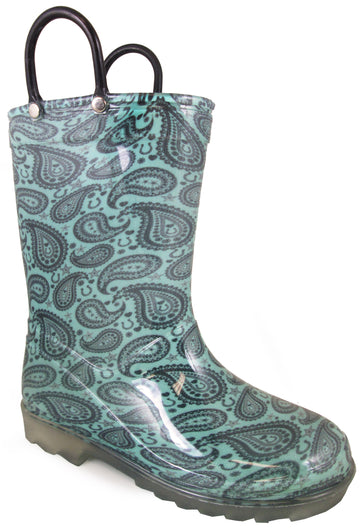 Smoky Mountain Children's Lightning Rubber Round Toe Rain Waterproof Turquoise PVC Boots