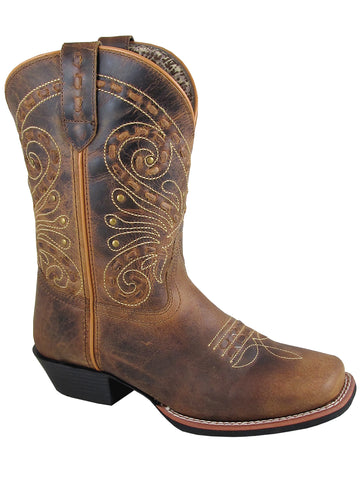 Smoky Mountain Women's Shelby Pull On Straps Stitched Design Square Toe Brown Waxed Distress Boots