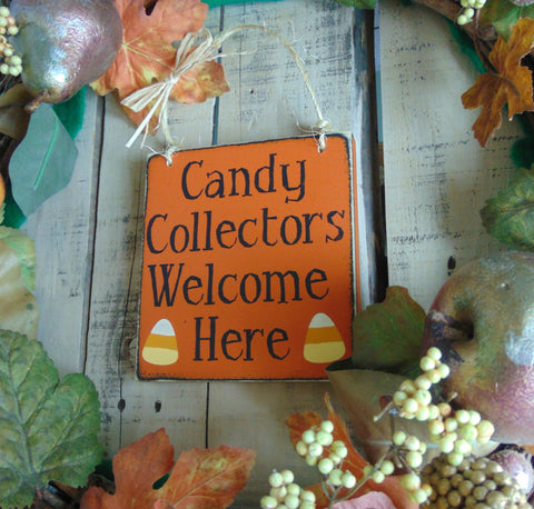 Happy Halloween Sign, Front Door Decor, Candy Collectors Welcome Here, Fall Sign