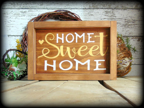 Country Rustic Handmade Wooden Sign, Home Sweet Home, Housewarming Gift