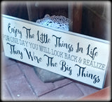 Gift For New Parents, Wooden Family Wall Sign, Enjoy The Little Things In Life