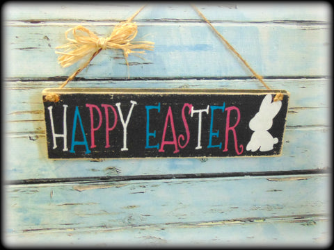 Happy Easter Sign, Rustic Wooden Spring Plaque, Bunny Decor, Front Door Spring Sign