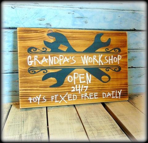 Funny Gift For Grandpa, Rustic Workshop Sign, Garage Decor