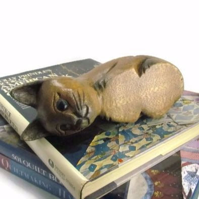 Vintage Carved Wood Kitty Cat Shelf Sitter Attic And