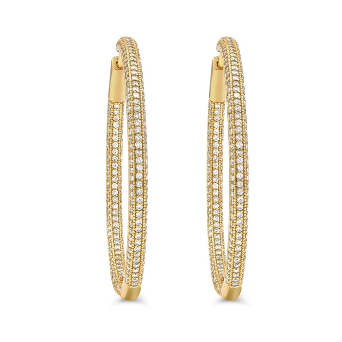 Camille Jewelry - Shop large gold plated pave hinged sterling silver hoops. Free shipping with in USA