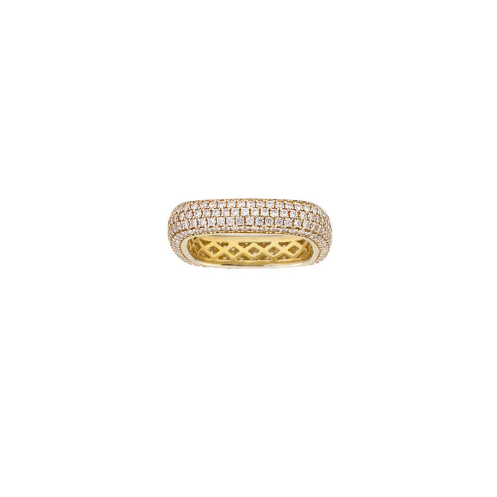 14K gold sterling silver medium soft square edge ring. Available at Camille Jewelry.