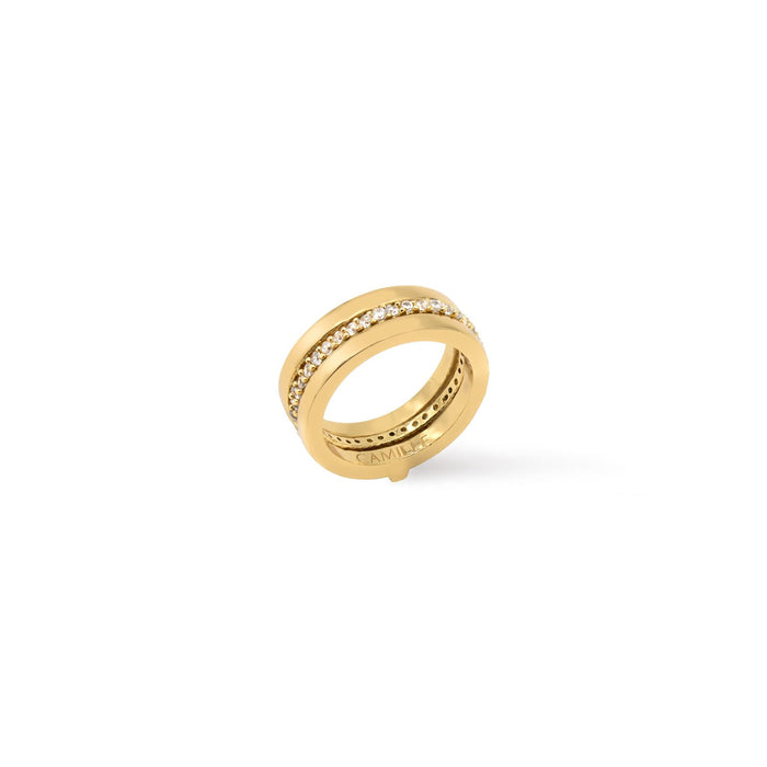 Camille Jewelry- Thyra insert ring. Gold plated with cubic zirconia pave ring band insert. Free shipping, USA