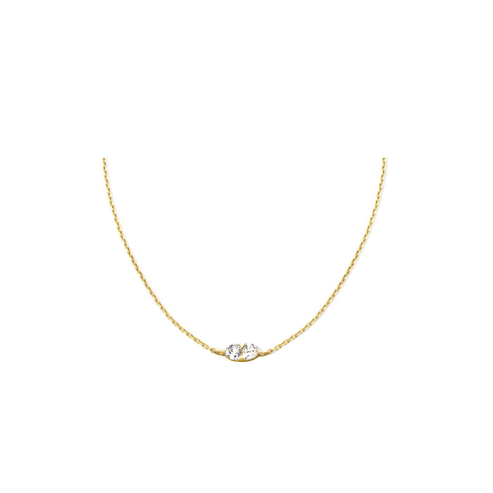 Camille Jewelry- Theia collection, 18K gold vermeil double trillion cubic zirconia necklace. Adjustable chain slider. Free shipping USA.