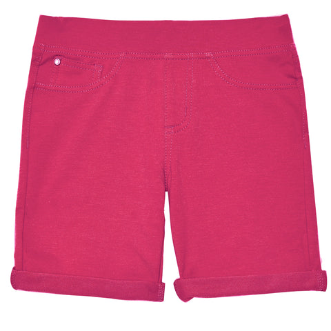 Easy Pull-On Knit Bermuda Shorts - Pink Peacock