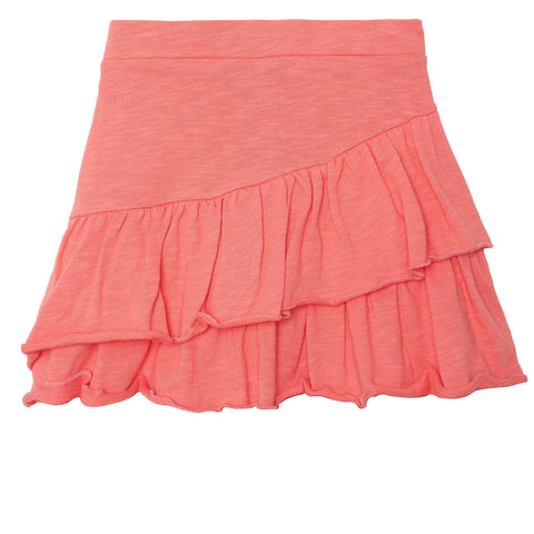 Ruffle French Terry Skirt - Calypso Coral