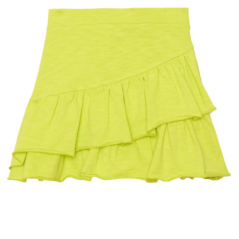 Ruffle French Terry Skirt - Acid Lime