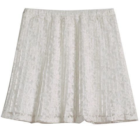 Pleated Lace Skirt - White