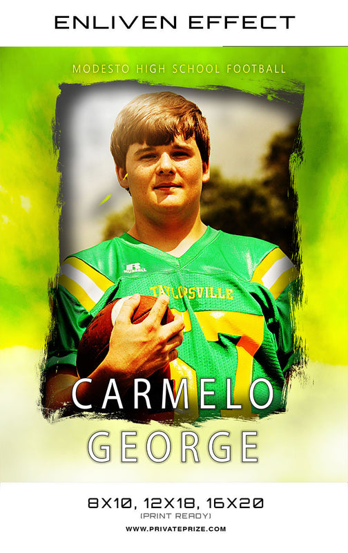 Carmelo Modesto High School Football Sports Template -  Enliven Effects - Photography Photoshop Templates