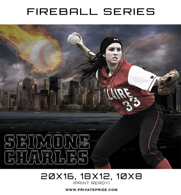 Seimone Baseball - Sports Fireball Series - Photography Photoshop Templates