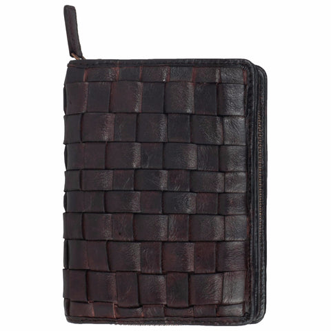Paris Genuine Leather Women Brown Hand Woven Clutch Wallet