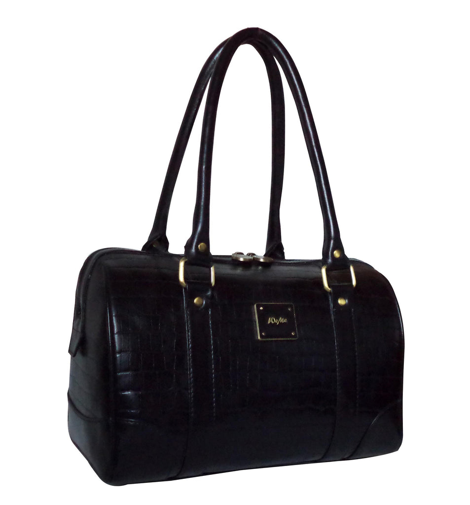 Victoria Genuine Leather Croco Women Black Shoulder Bag