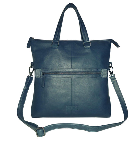Victoria Genuine Leather Waxy Women Dark Blue Shoulder Bag