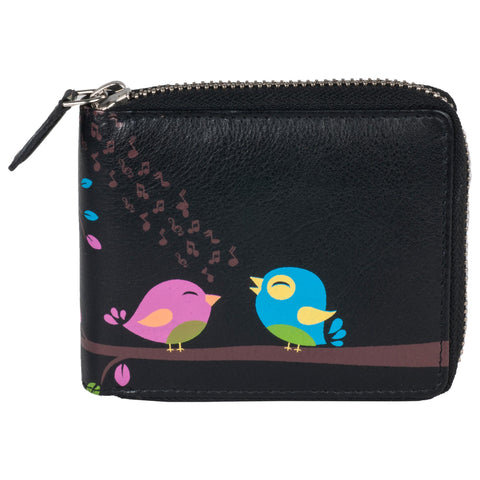 Paris Genuine Leather Women Black Laser Printed Wallet