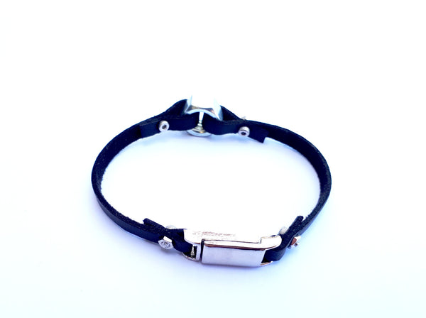 Gold nut charm leather bracelet