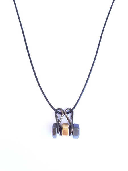 Men black-gold single bolt necklace