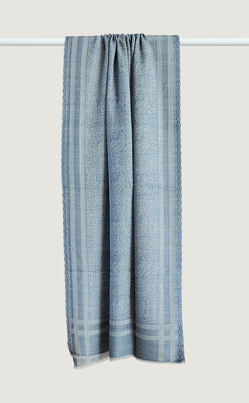 Denim Blue Wool Jacquard