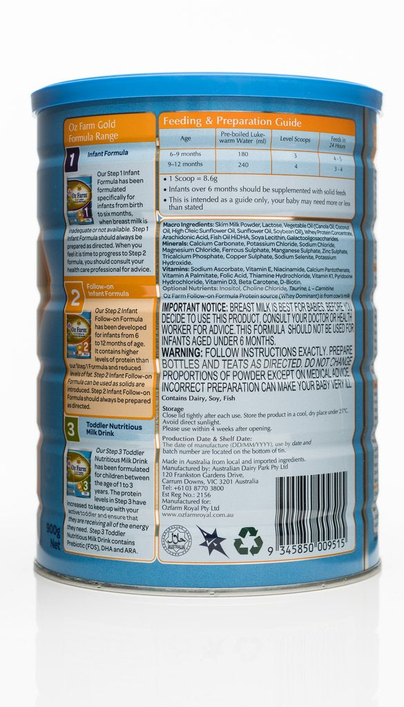 OZ Farm Gold Follow-on Formula (Boxed, 6 Cans, 900g Each) back1