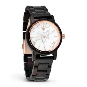 The Gaston Wood Watch- Womens White Marble 36mm