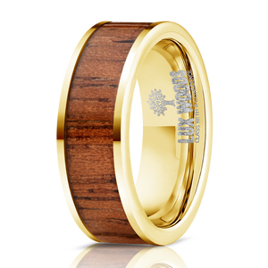 Yellow Gold Plated Tungsten Carbide- Sapele Wood Inlay