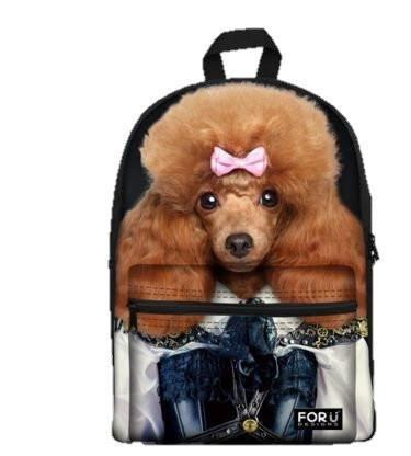 PC Accessory - LightningStore Cute Children Poodle Wearing Pink Ribbon School Bags Backpack