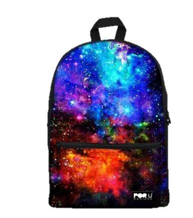 PC Accessory - LightningStore Cute Children Stars Constellation Outer Space Blue Green Northern Lights School Bags Backpack