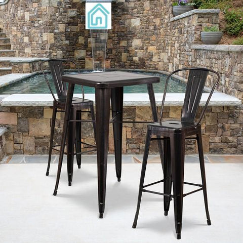 Bar Table Chair Set Black Antique Gold Metal Outdoor Furniture