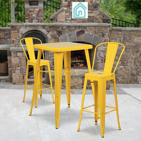 Cafe Restaurant Yellow Metal Bistro Style Outdoor Bar Set On Sale